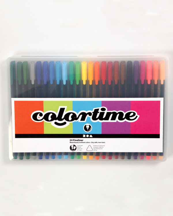 Colortime fineliner tusch mixade färger 24-pack