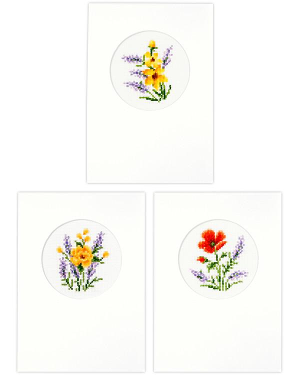 Karten Blumen 3-er Pack