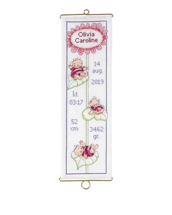 Broderikit Fødsels-klokkestreng Rosa