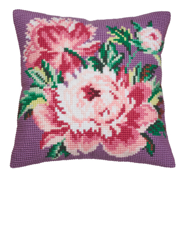 Broderikit Pude Rosa blomster