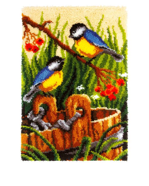 Knüpfmatte Vögel