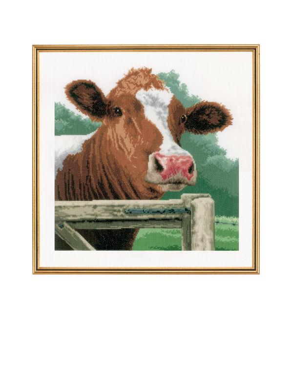 Taulu Utelias lehmä pellava
