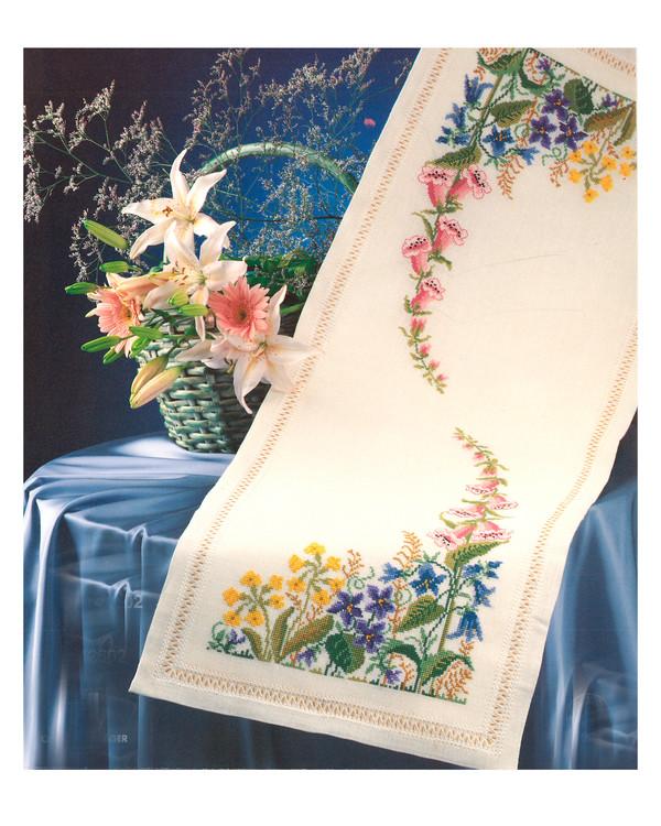 Broderikit Löpare Vilka blommor Aida