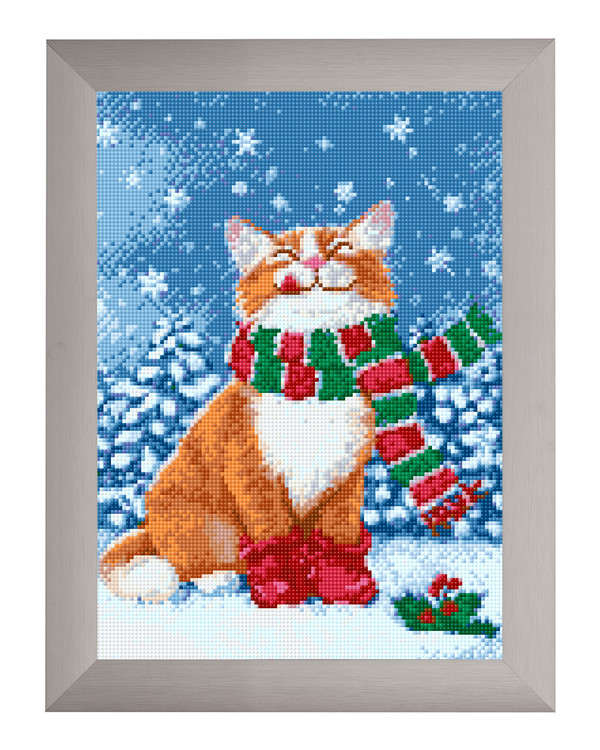 Diamond painting Katt i snø