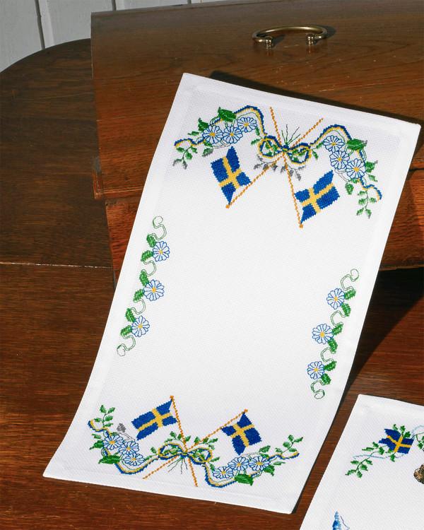 Broderikit Löpare Sveriges flagga