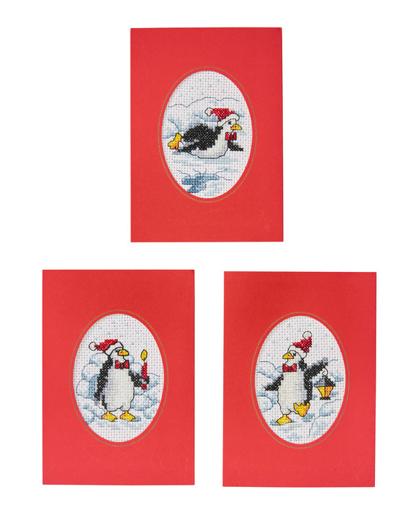 Julkort Pingviner 3-pack