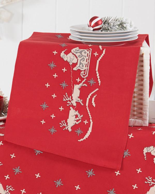 Kirjontapakkaus Kaitaliina Joulupukki ja reki