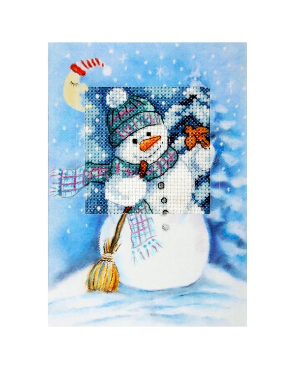 Kirjontapakkaus Joulukortti Lumiukko