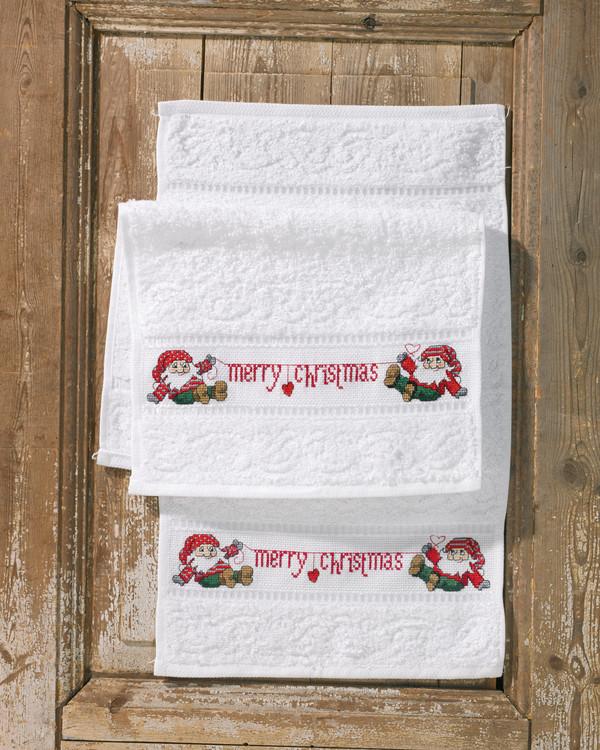 Broderikit Gæstehåndklæde Merry Christmas 2-pak