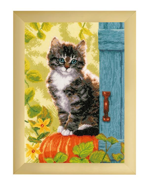 Kirjontapakkaus Taulu Kissa ja kurpitsa