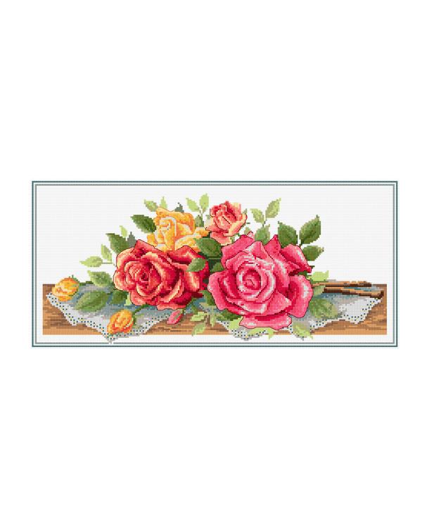 Kirjontapakkaus Taulu Ruusukimppu