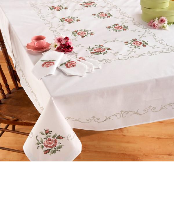 Middagsduk Roser med eller uten garn