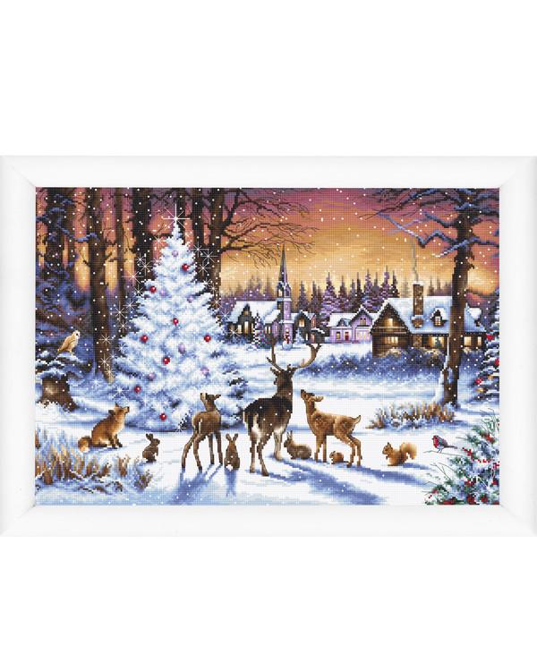 Kirjontapakkaus Taulu Metsän joulu