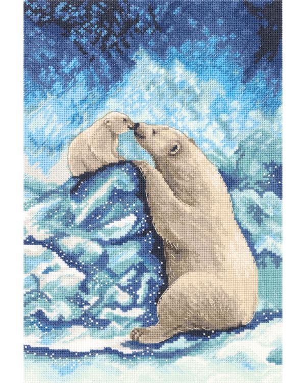 Kirjontapakkaus Taulu Jääkarhuja