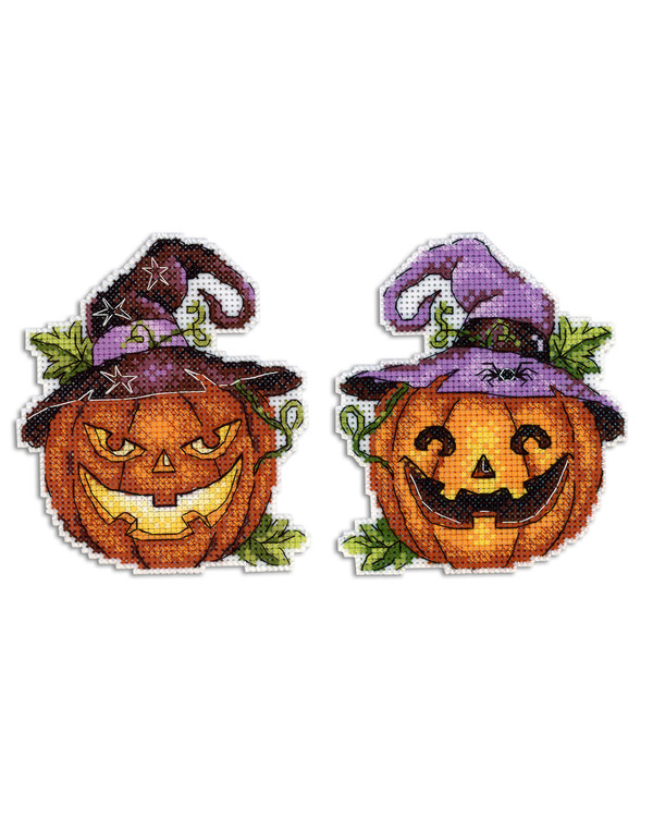 Broderikit Plastic canvas Halloweenpumpor 2-pack