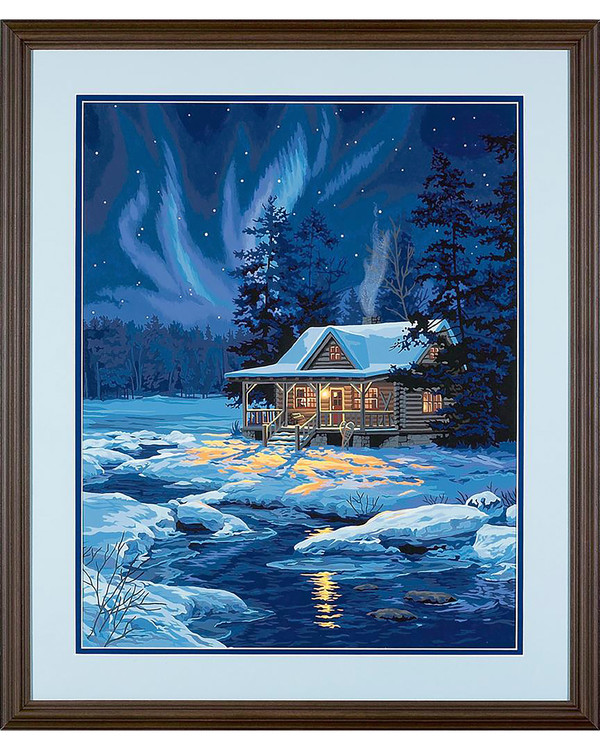 Paint by numbers Moonlit Cabin