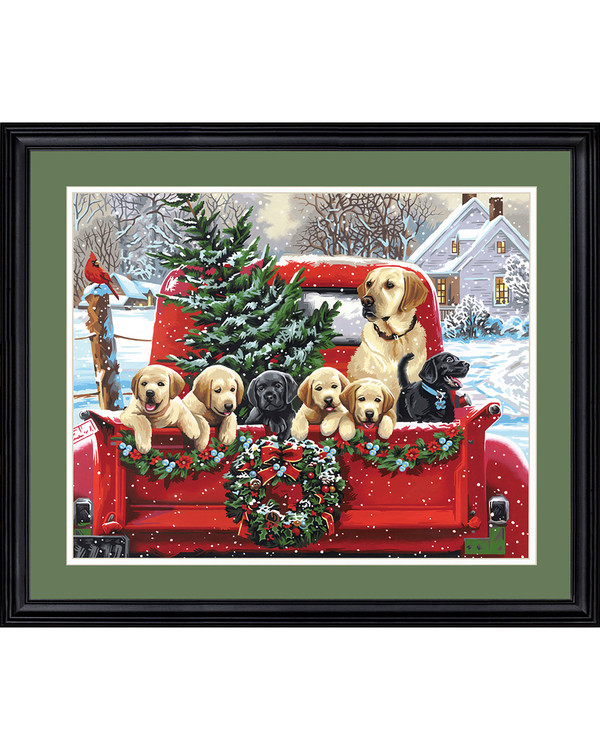 Paint by numbers Holiday puppy truck