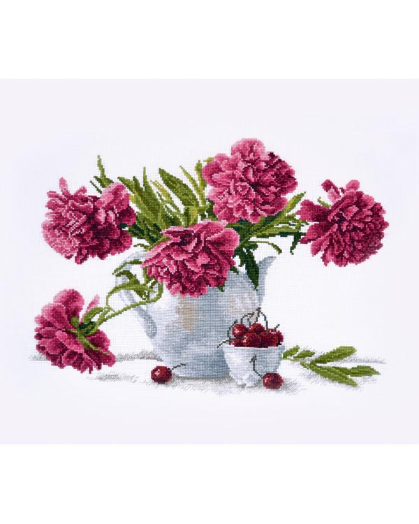 Stickpackung Bild Rosa Blumen