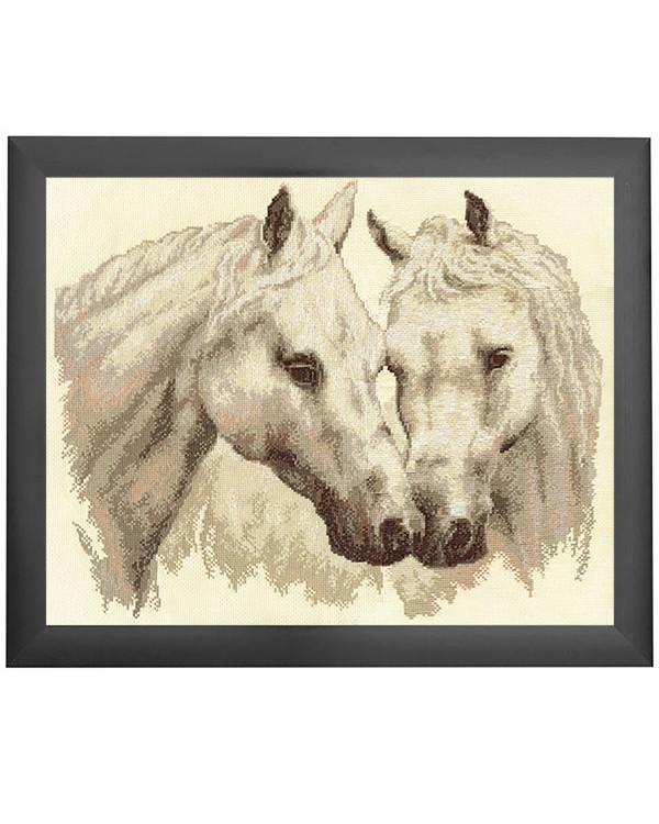 Broderipakke Bilde To hvite hester