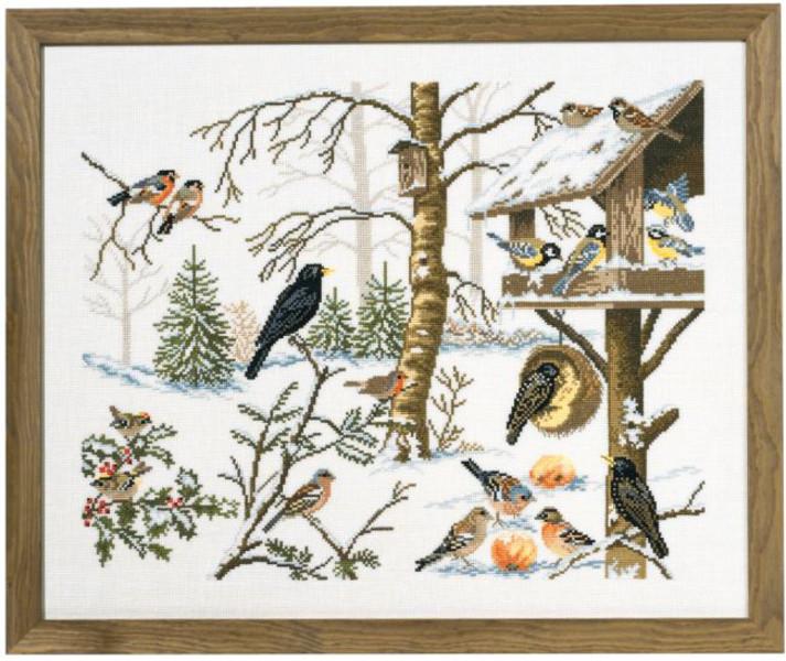 Broderikit Tavla Vinterfåglar