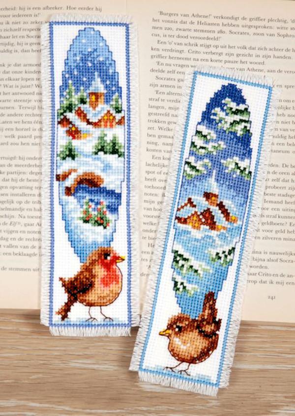 Lesezeichen Vögel im Schnee 2-er Pack