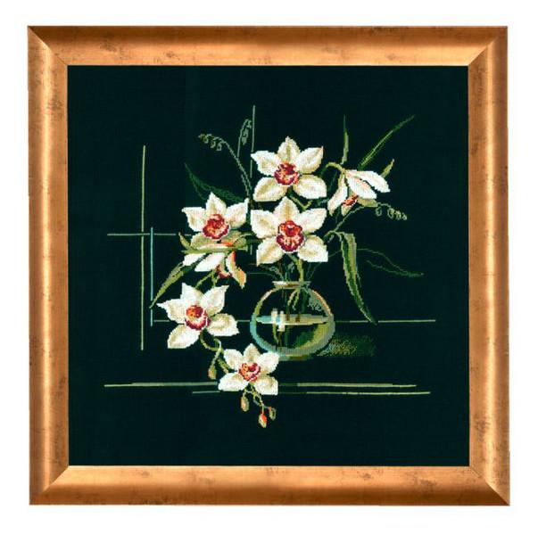 Broderikit Tavla Vita orkideér