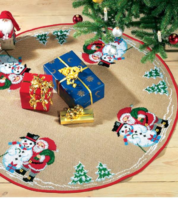 Julgransmatta Tomte och snögubbe