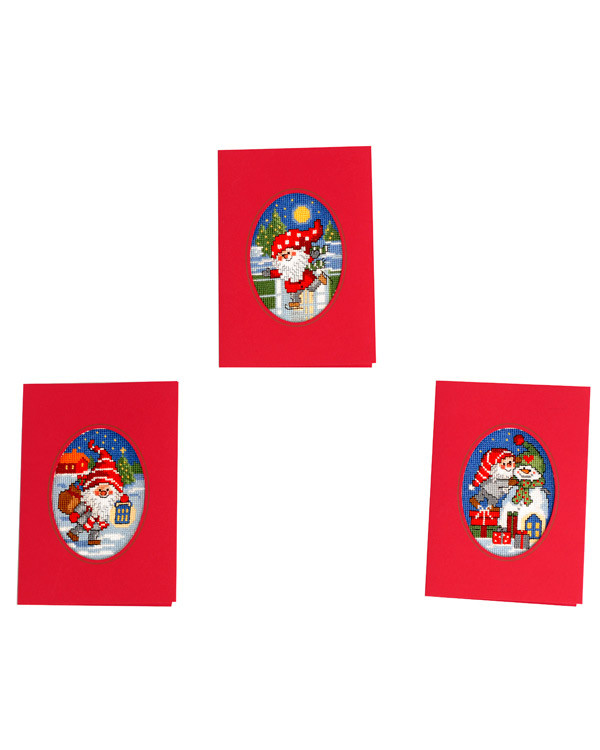 Julkort Sprallig tomte 3-pack