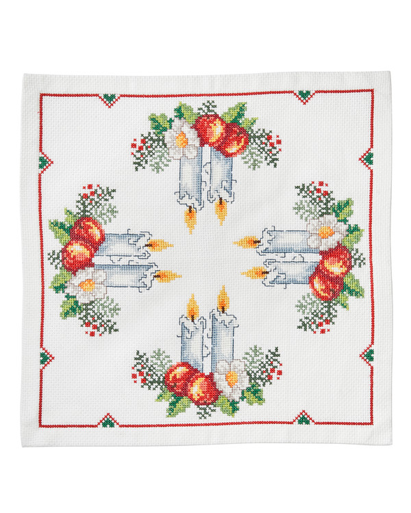 Stickpackung Deckchen Kerzenschein