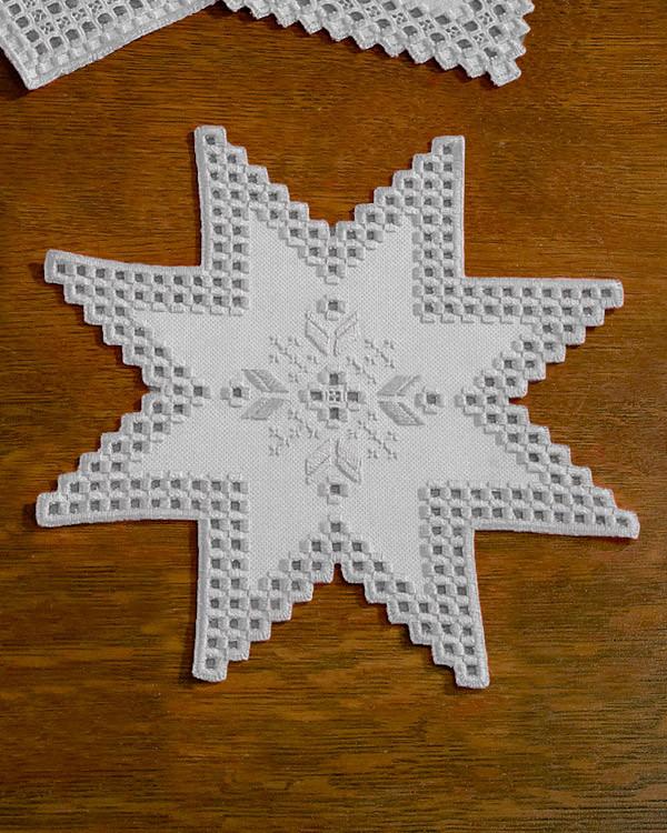 Hardangerduk Stjärna vit
