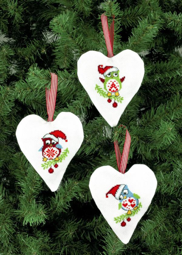Julehjerter Ugler 3-pak