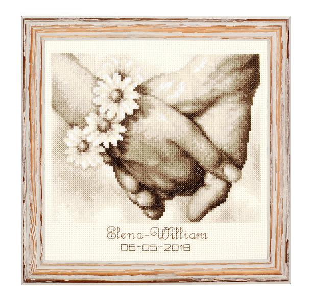 Broderikit Bröllopstavla Hand i hand