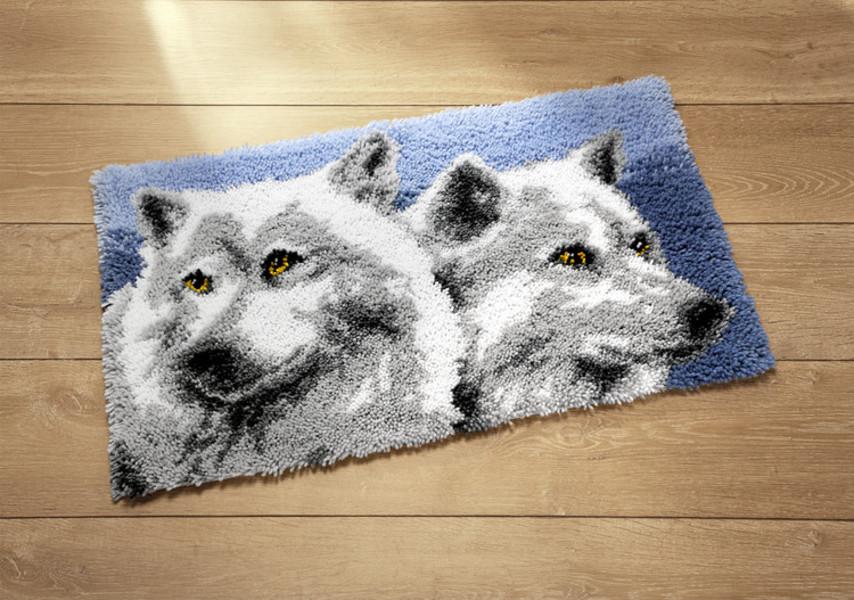 Knüpfmatte Wölfe