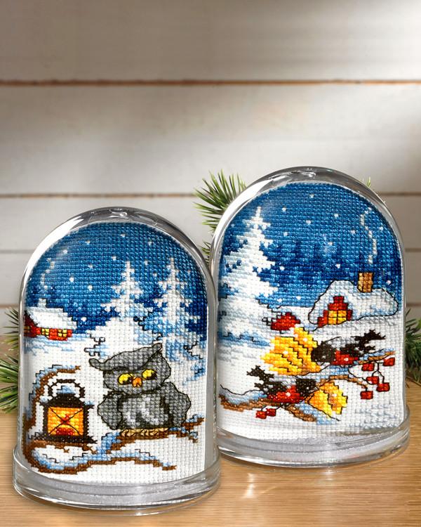 Stickereien Winterstimmung für Schneekugel 2-er Pack