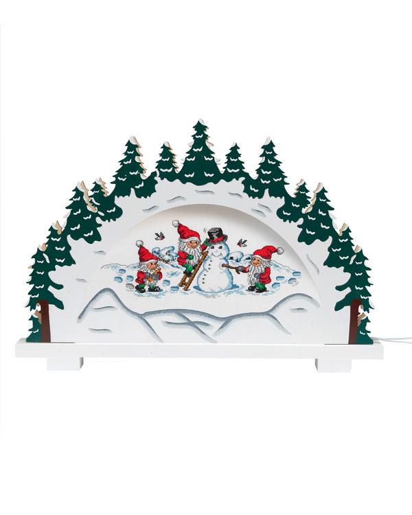 Kirjomus Tontut rakentavat lumiukon