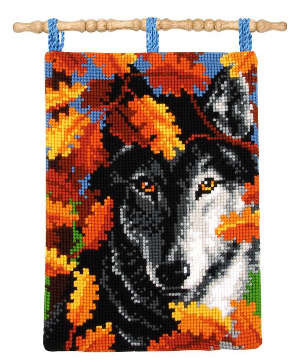 Wandbehang Wolf im Herbstlaub