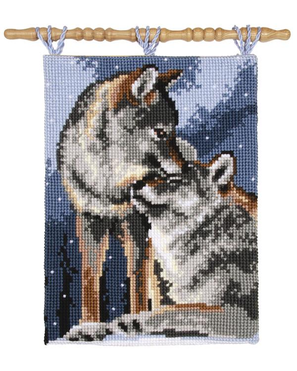 Broderipakke Veggteppe Kjærlige ulver