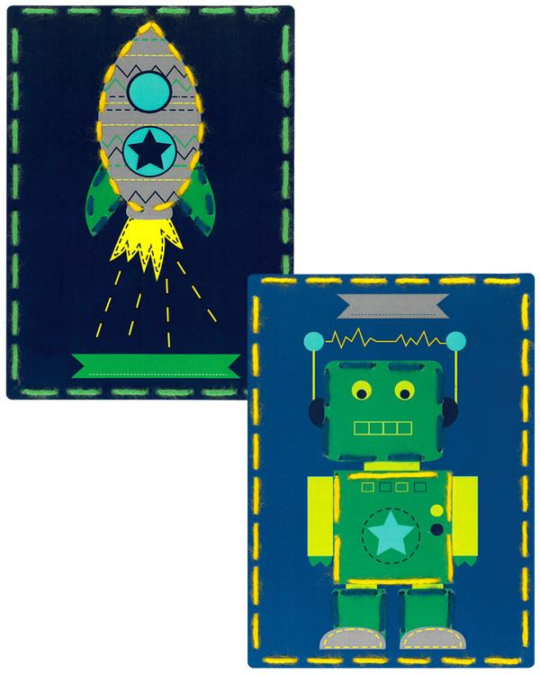 Kort Robot och raket 2-pack