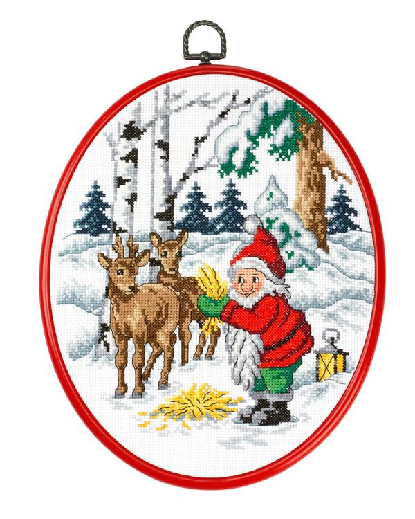 Taulu Metsäkaurista syöttävä joulupukki