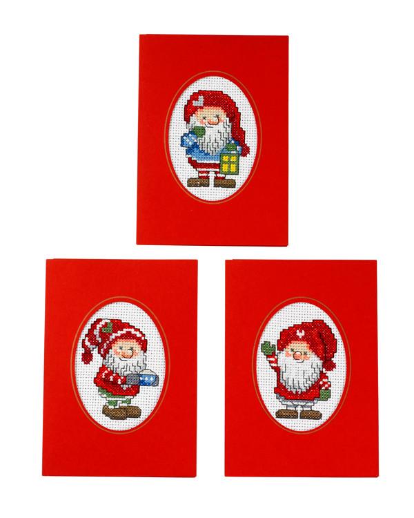 Joulukortit Ystävälliset tontut 3/pak