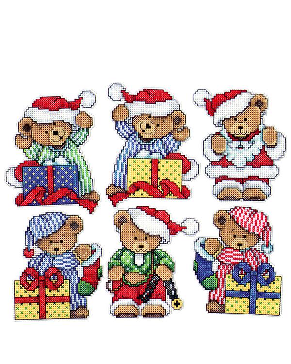 Plastik Canvas Weihnachtsbären 6-er Pack