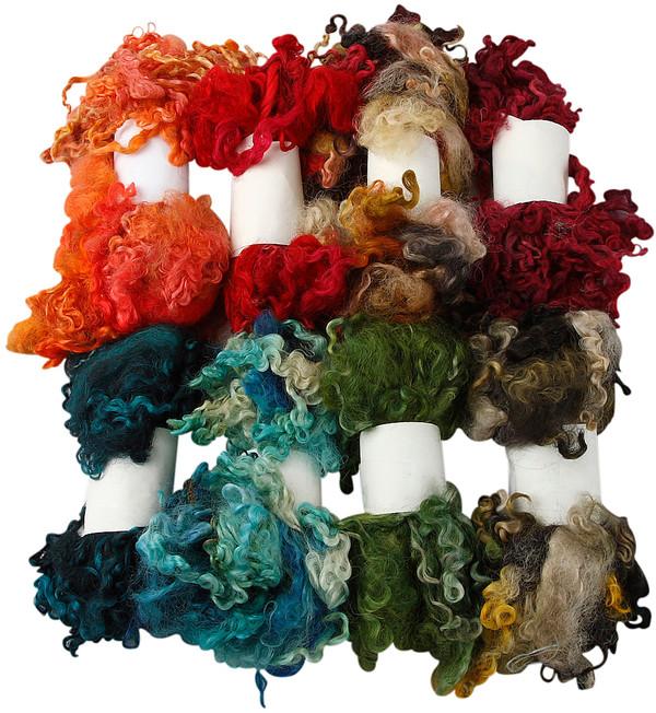 Krullig ull mixade färger