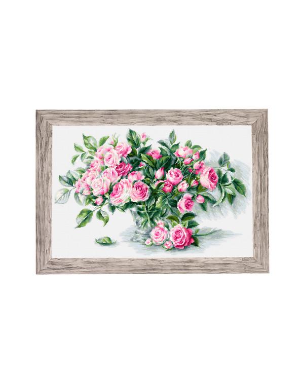 Billede Vase med rosa roser