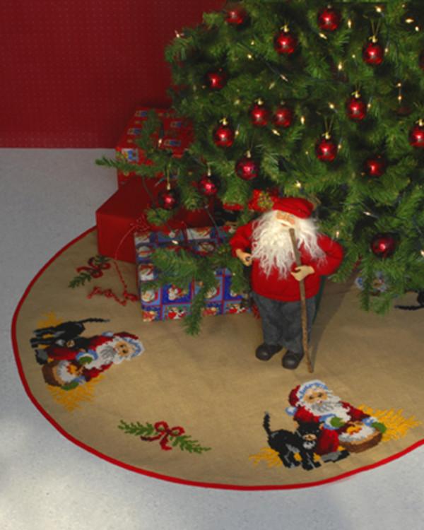 Julgransmatta Tomte och katt