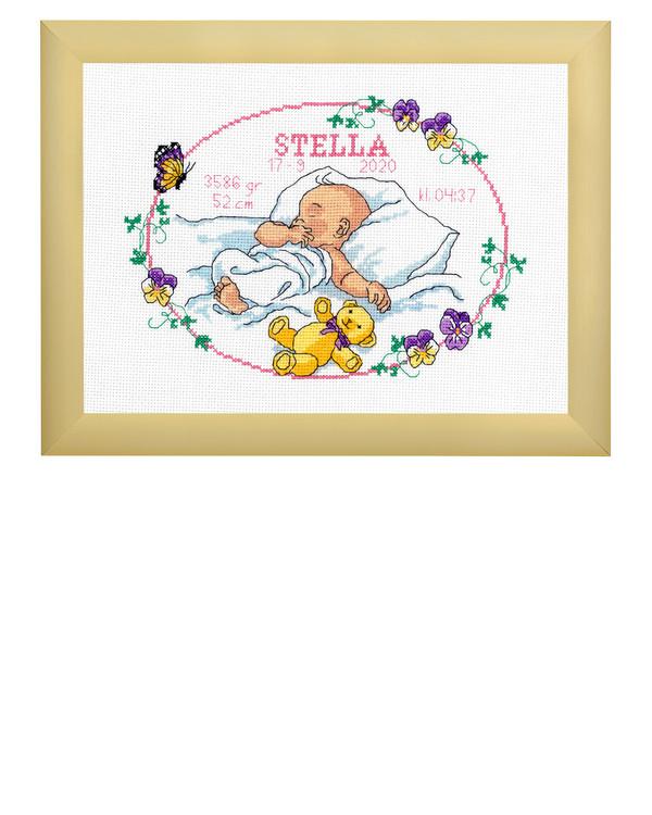 Broderikit Födelsetavla Sover sött