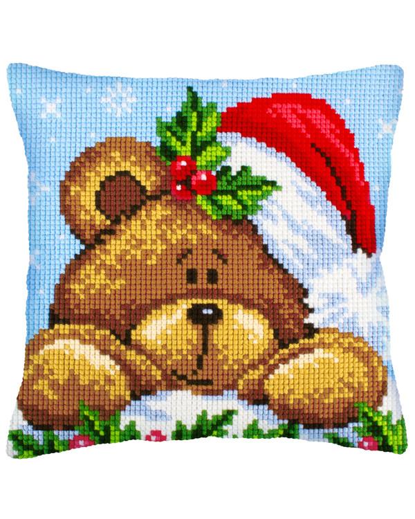 Broderikit Kudde Julens teddybjörn