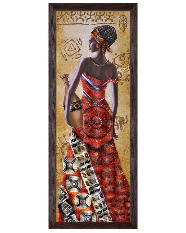 Helmikirjomus Afrikkalainen nainen kannun kanssa