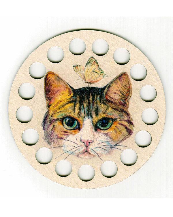 Garnribbe rund Katt