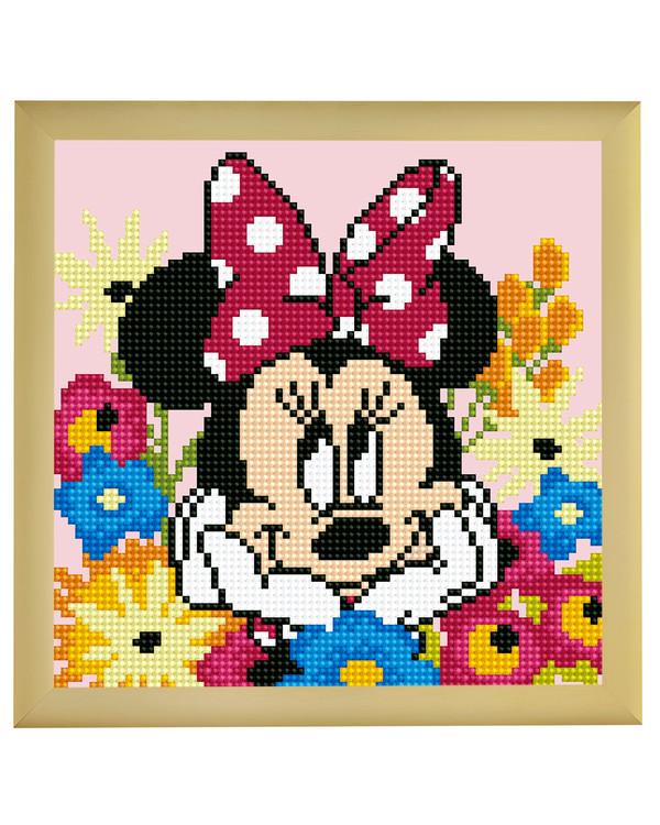 Diamond Painting Minnie blandt blomster
