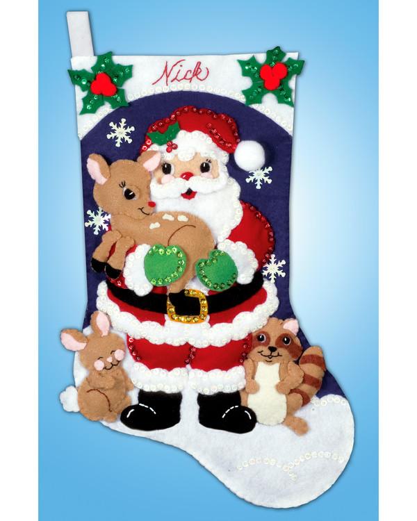 Filtbroderi Julstrumpa Bästa vänner